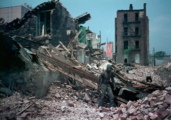 Shirtless Man Wearing Hood and Jeans Bushwick, Brooklyn, NY 1982