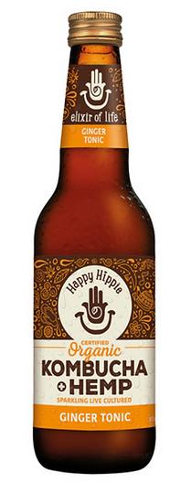 Happy Hippie Organic Kombucha + Hemp Ginger Tonic 330ml x 12 Pack
