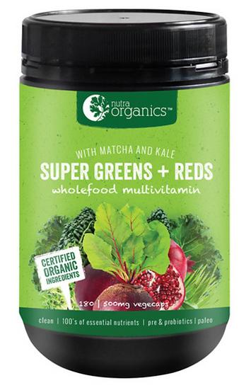 Nutra Organics Super Greens+Reds 180 Caps