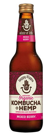 Happy Hippie Organic Kombucha + Hemp Mixed Berry 330ml x 12 Pack
