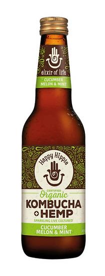 Happy Hippie Organic Kombucha + Hemp Cucumber Melon & Mint 330ml x 12 Pack