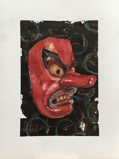 """Japanese Red Mask"" - Work on Paper"