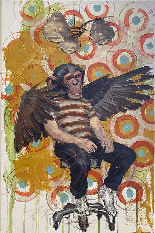 Chimp with Wings study (Black Hats, White Hats series)