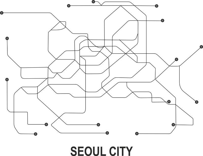 Seoul Subway Map Vector.Seoul Subway Vector Map