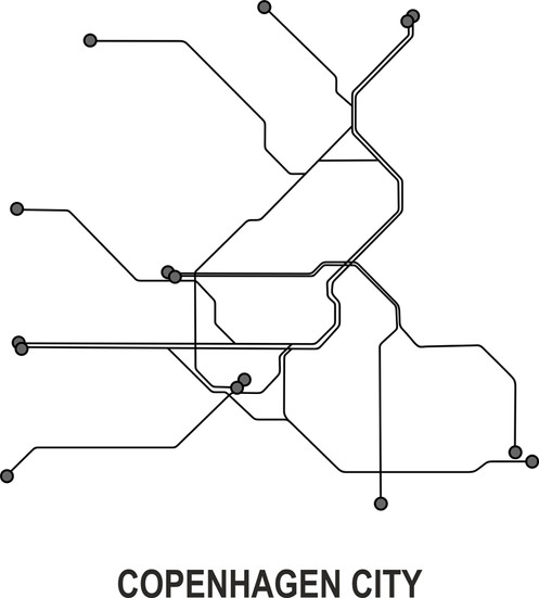 Subway Map Of Copenhagen.Copenhagen Subway Vector Map