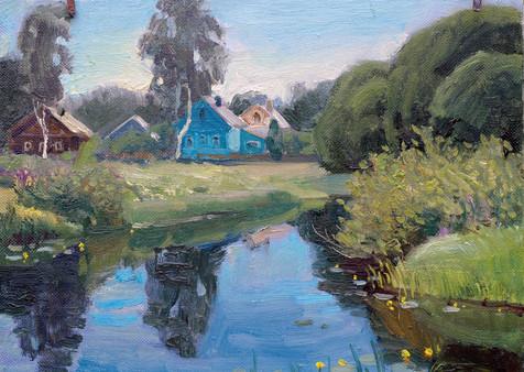 Деревенский пейзаж.60х70х.м, Karelina.JP