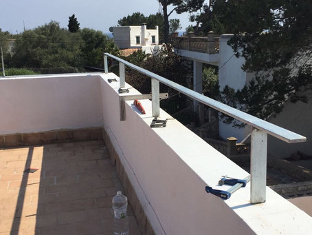 A new balustrade on the roof top sea view terrace