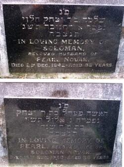 Gravestones of Solomon and Pearl Novak