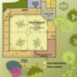 Planta Pátio Central com medidas