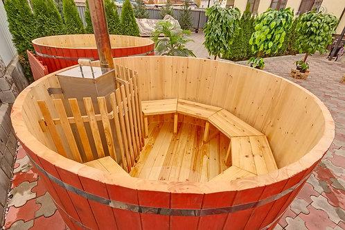 Купель из кедра с внутренней печкой