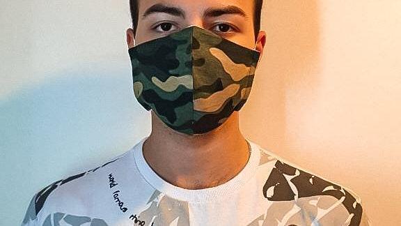 100 Máscaras Bico de Papagaio Camuflada e elástico confortável - adulto