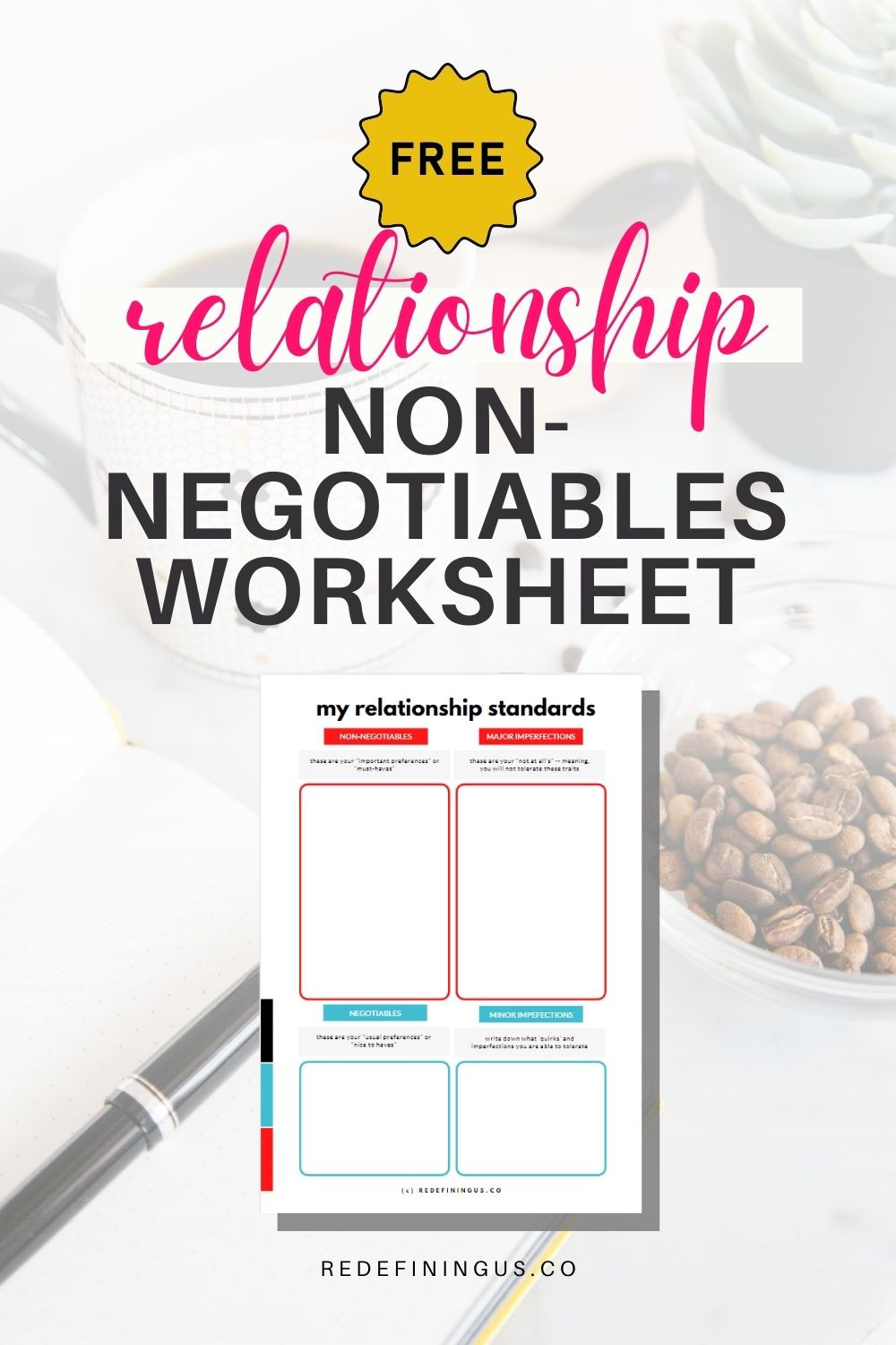 Free Relationship Non-Negotiables Worksheet Standards