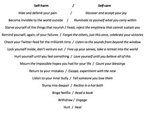 "Poetry: ""Self Care/Self Harm"" & ""Twitter Light"""