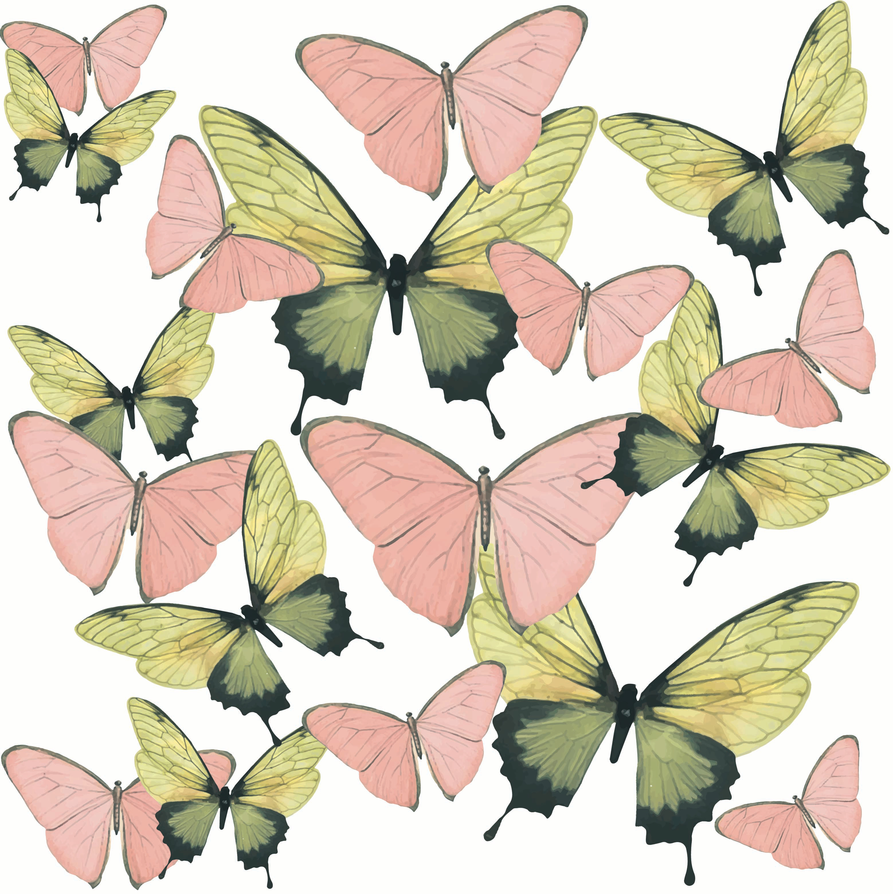 pink n gr buttfly TILE