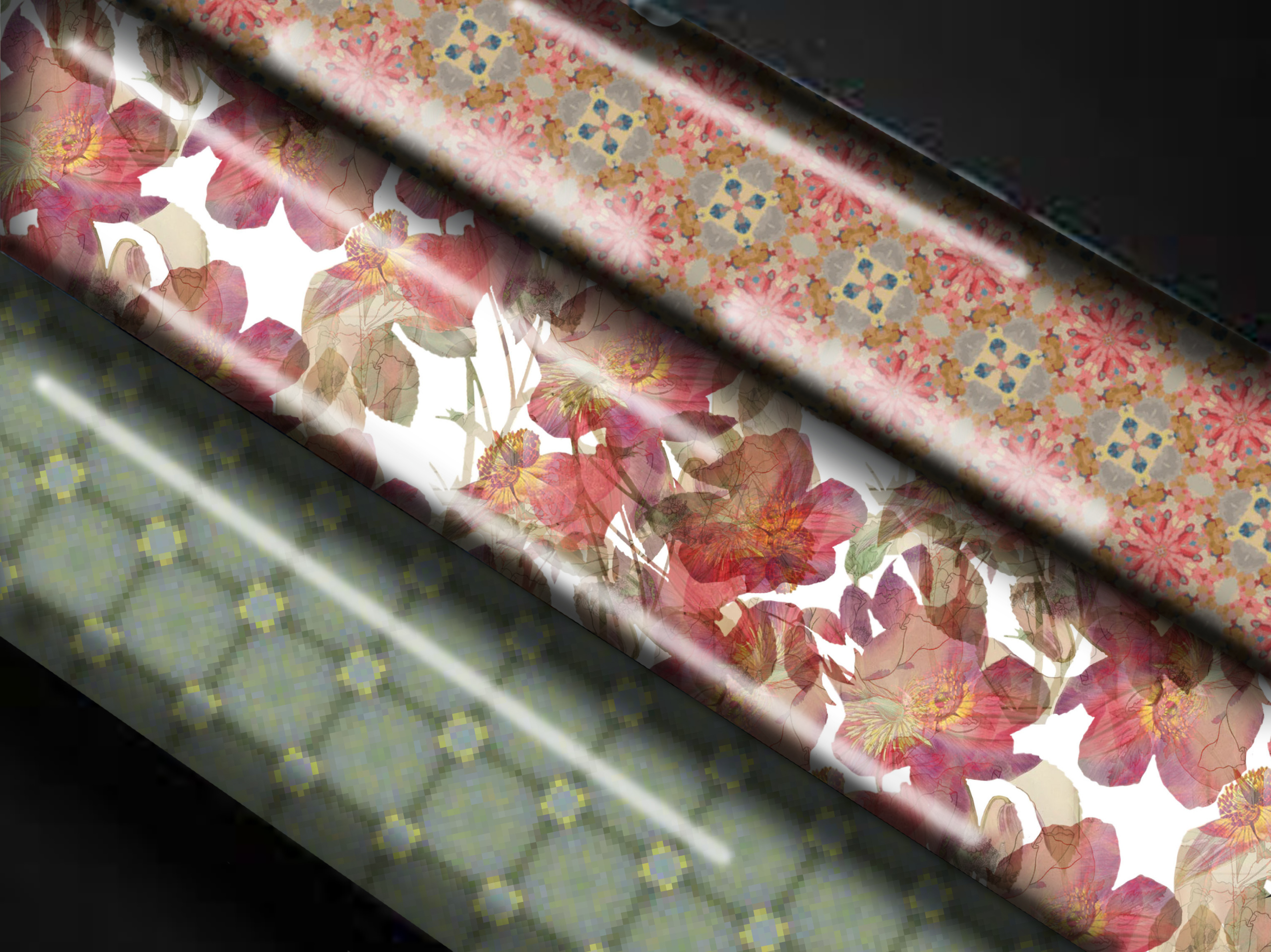 Floral overlay wrapping paper comps