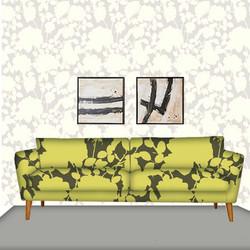 Yellow on Dark Gray Floral sofa