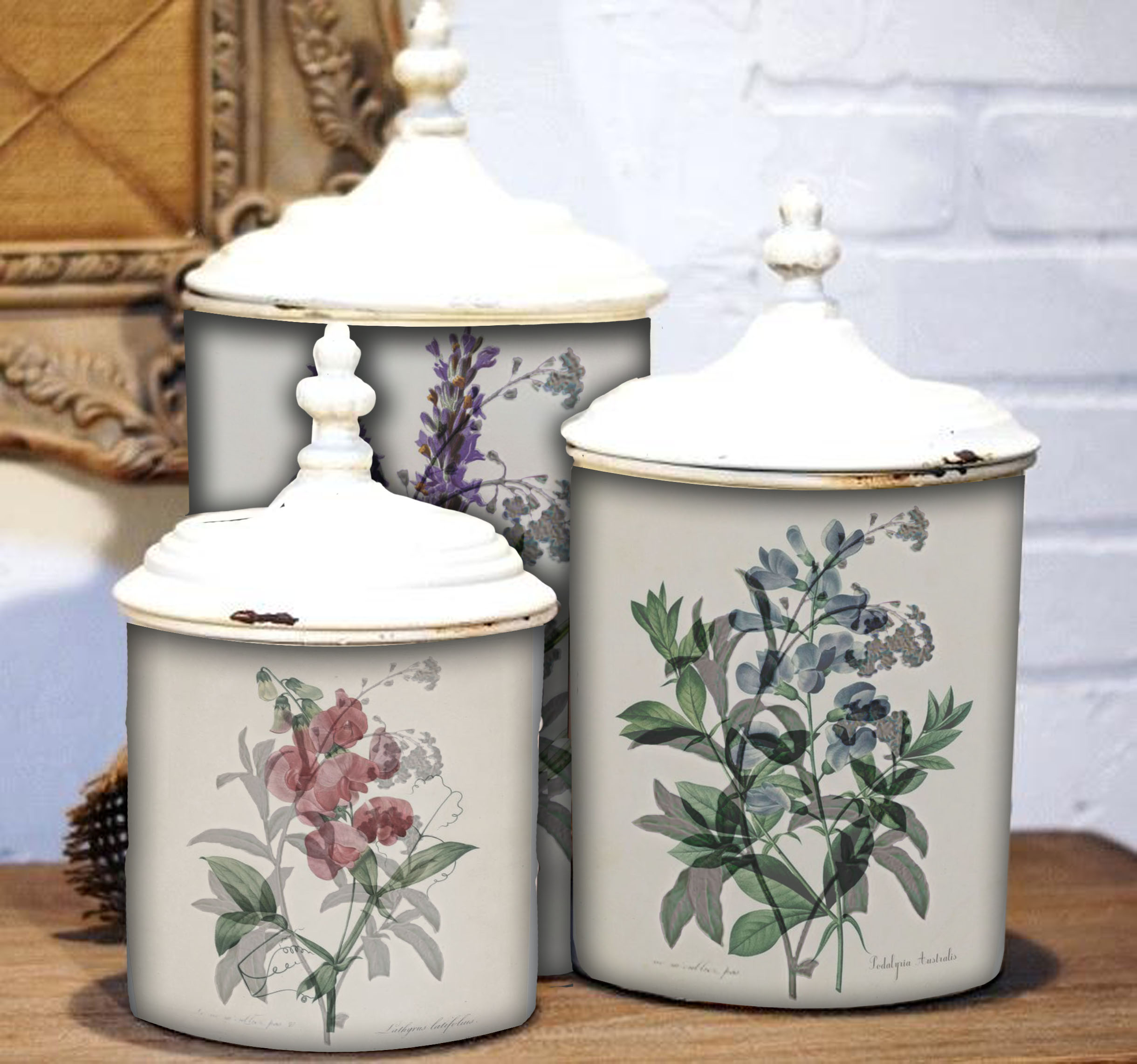 3 floral cannisters