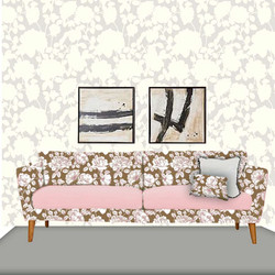 Gold and Pink Floral sofa