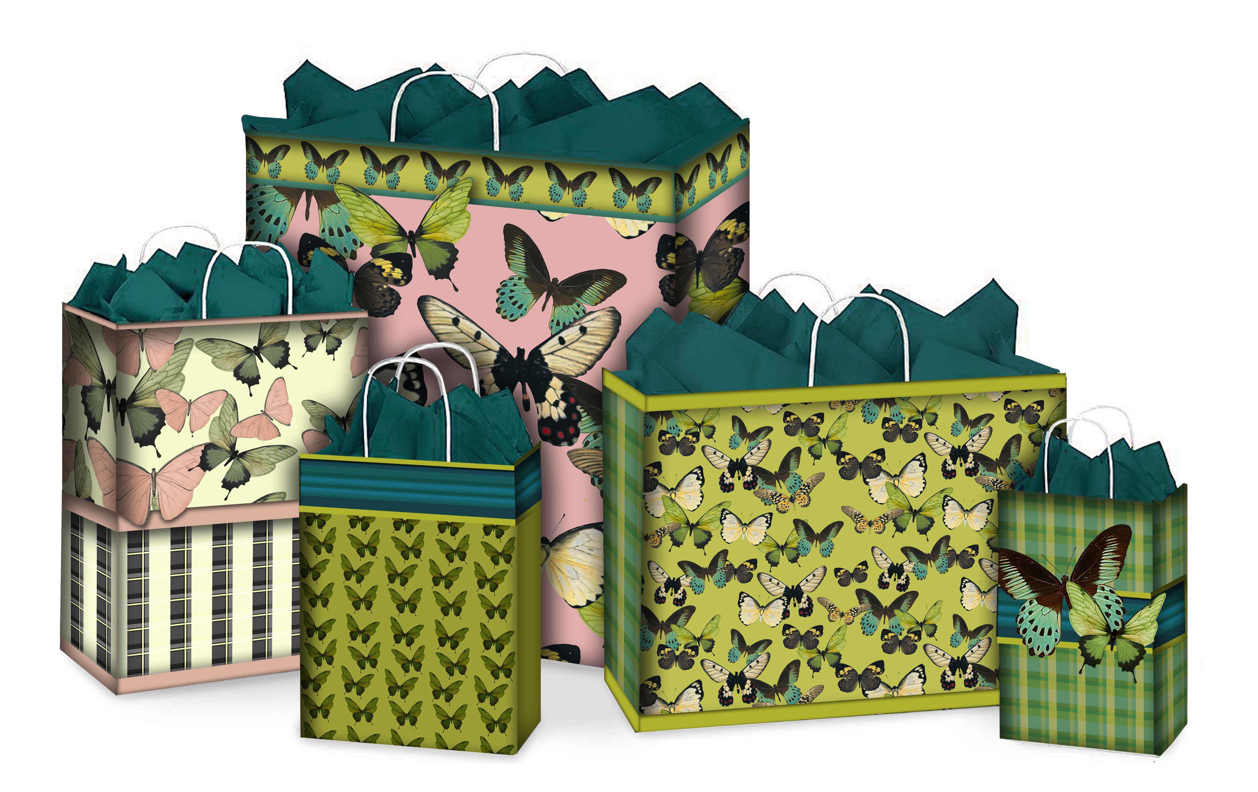 green butterfly bags
