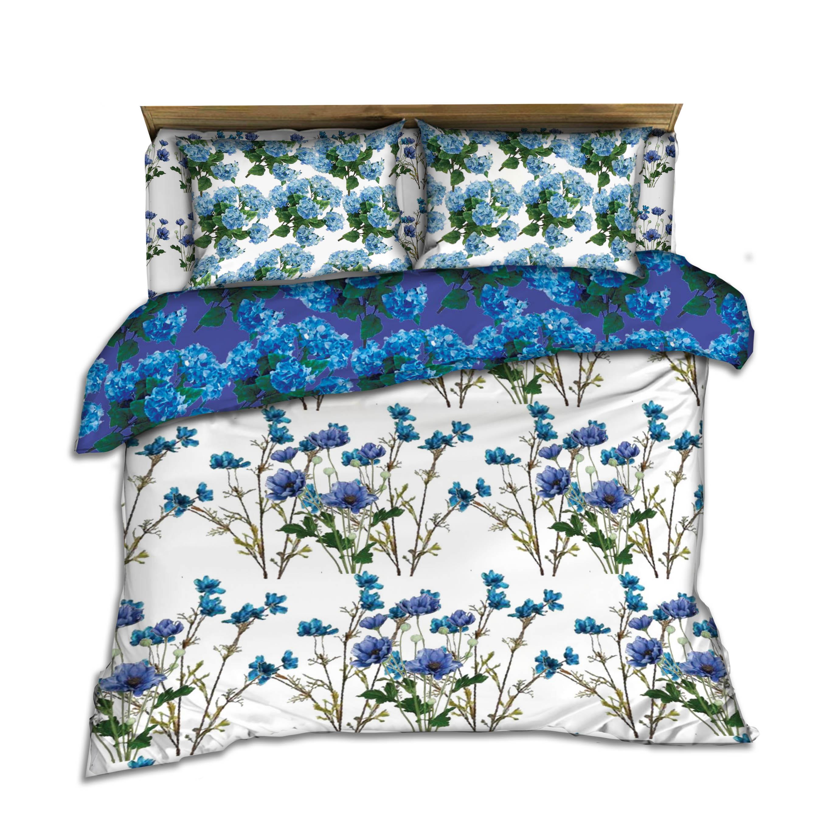 blue wildflower bedding