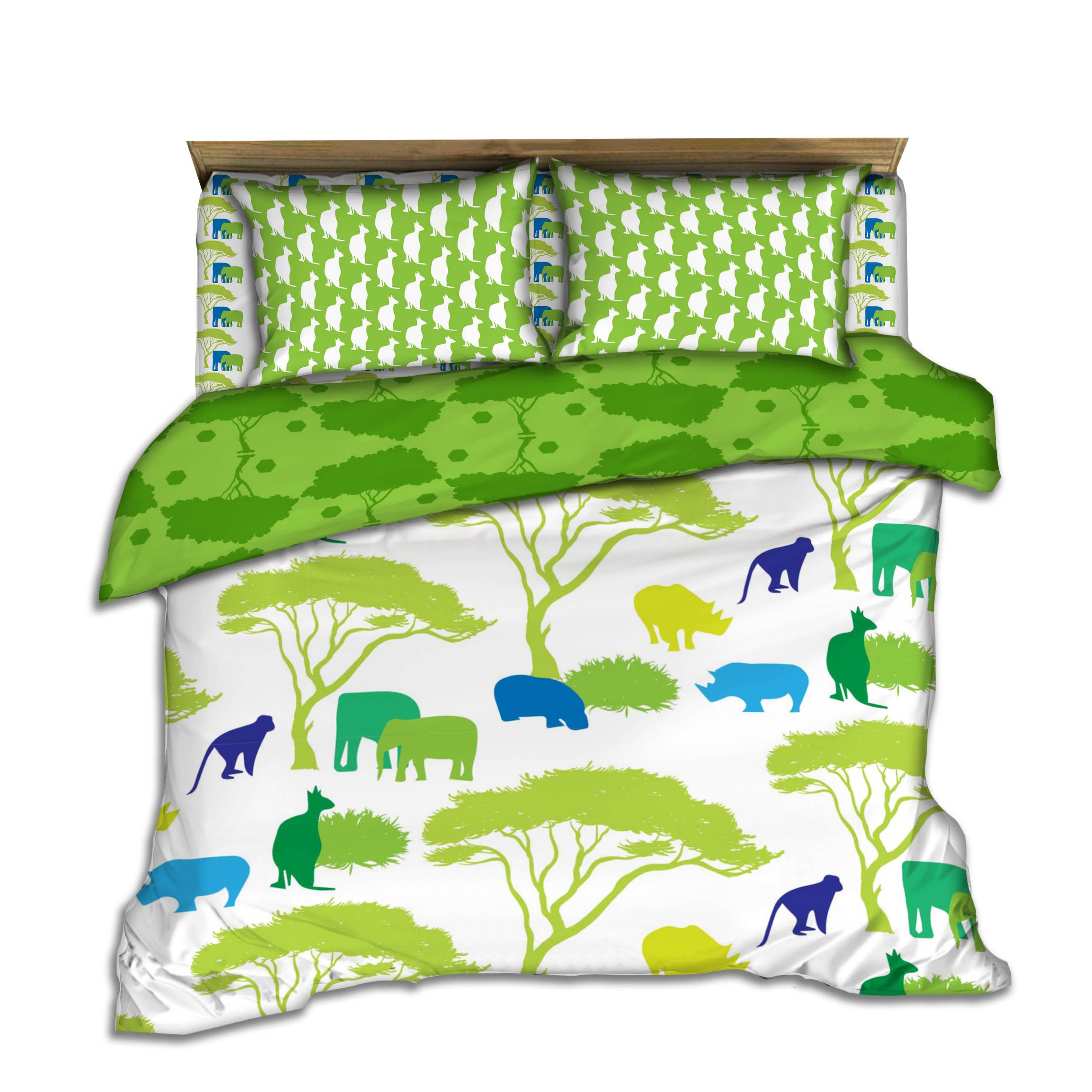kids green jungle bedding