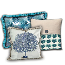 Coral assorted pillows