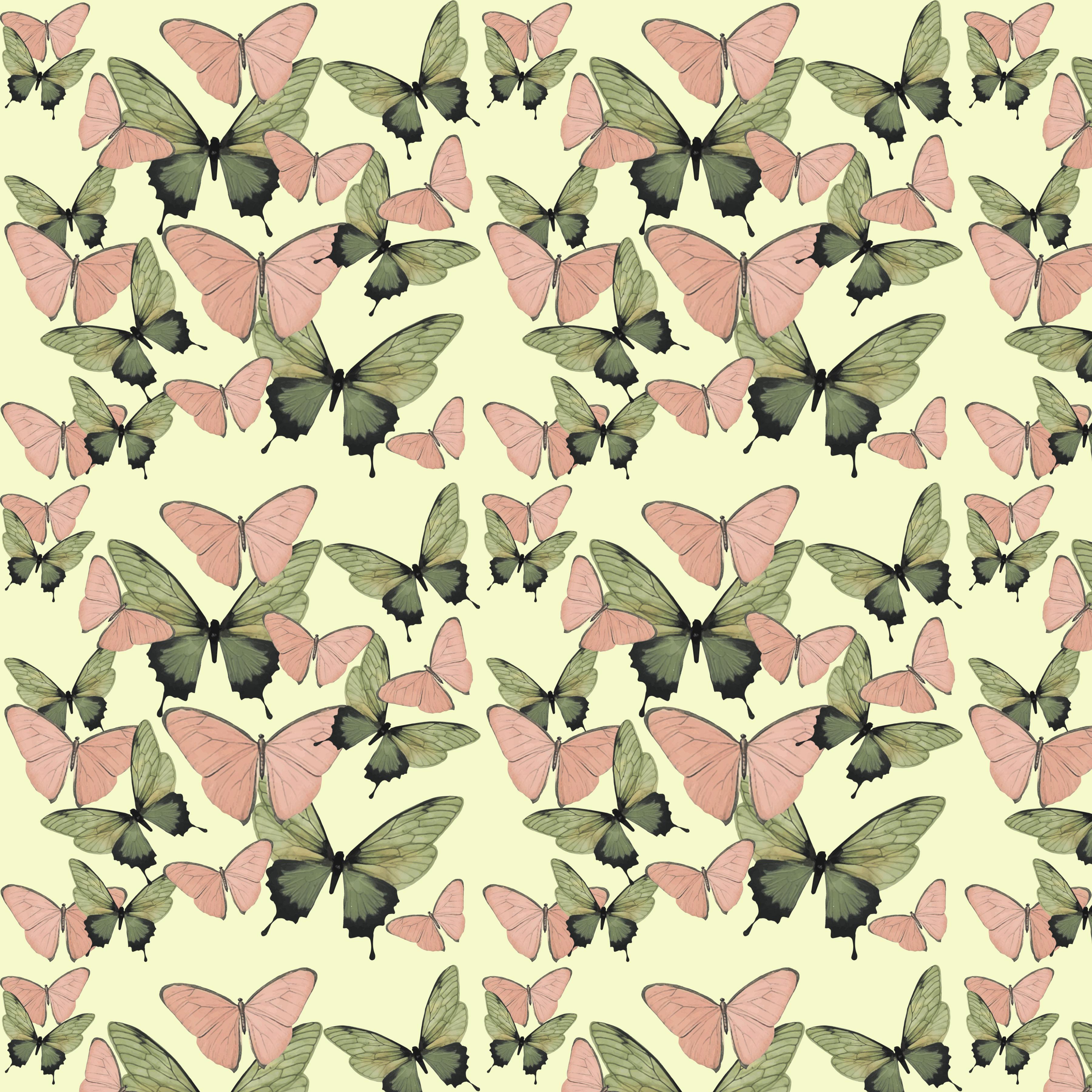 gr n pink butterflies fill