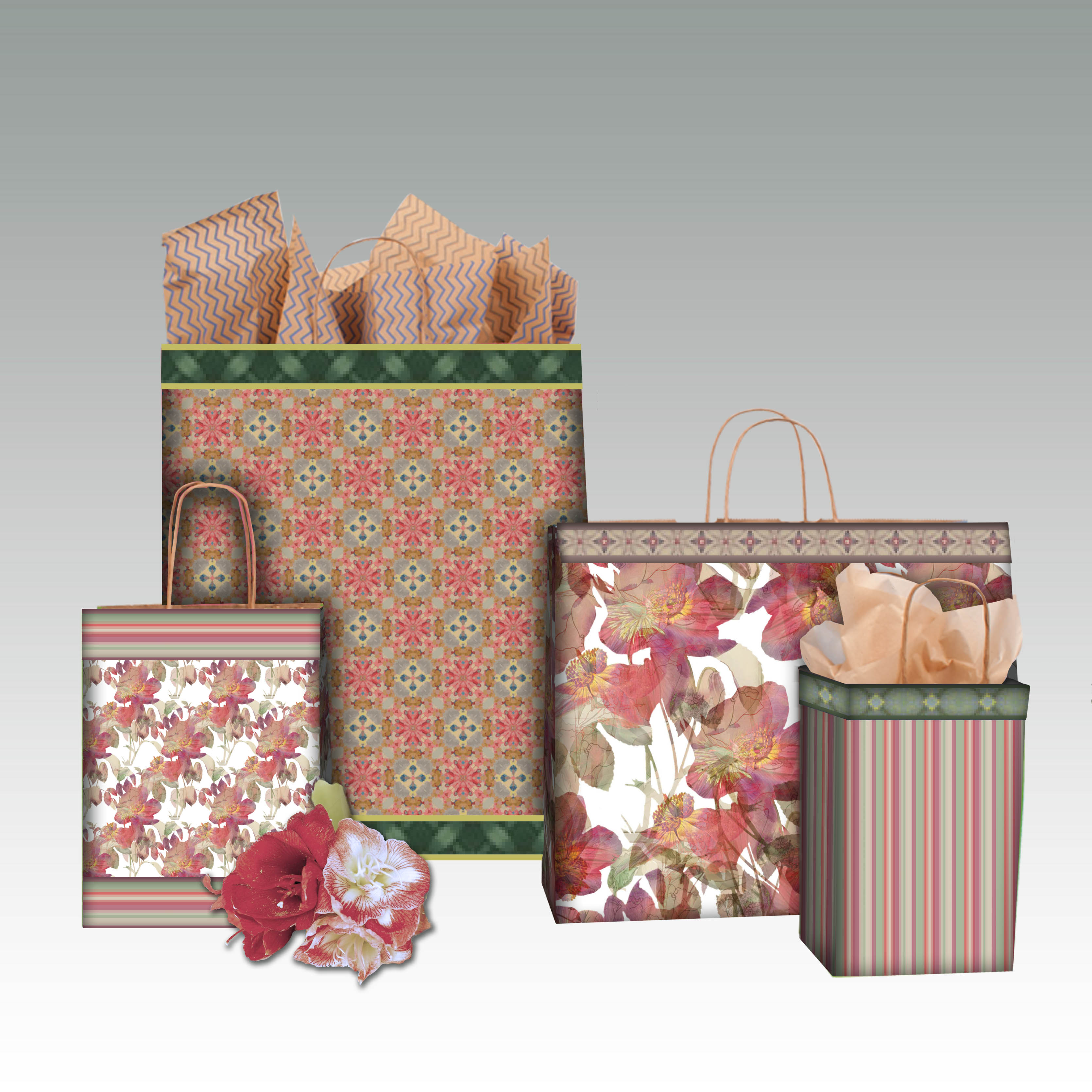 floral overlay shopping bags