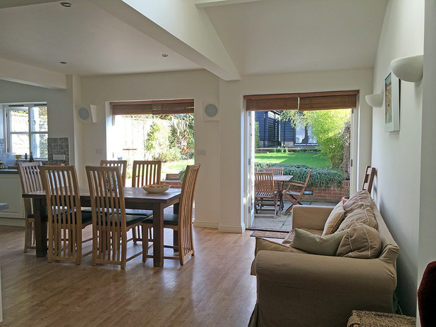 Dining area with french doors to patio