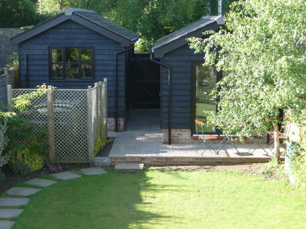 Lush Garden with Summer House