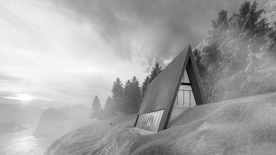 A chalet in the pine trees. 3D Visualization