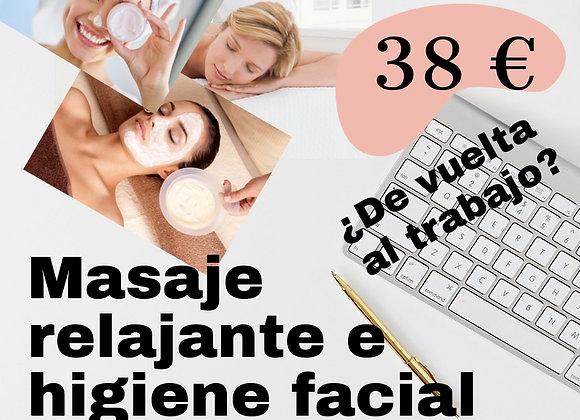 Masaje Relajante e higiene facial