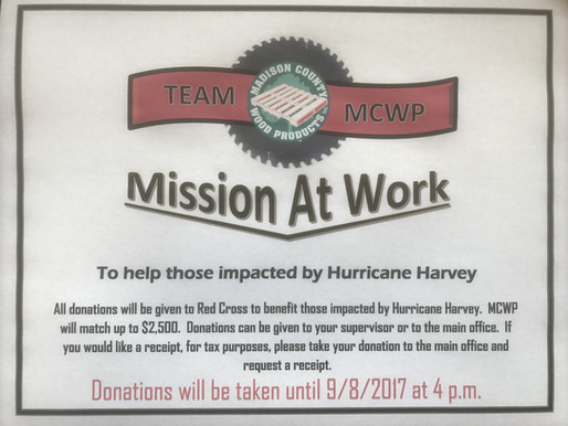Mission At Work: Team MCWP to raise funds for those impacted by Hurricane Harvey