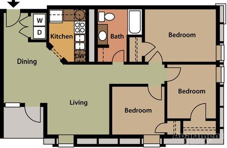 3 bedroom 937sqft