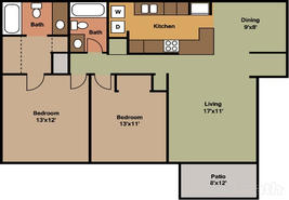 2 Bedroom 1030 sqft