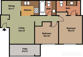 2 Bedroom 1050 sqft