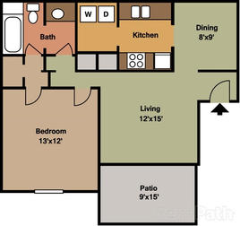 1 Bedroom 750 sqft