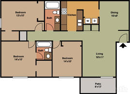 3 Bedroom 1275 sqft