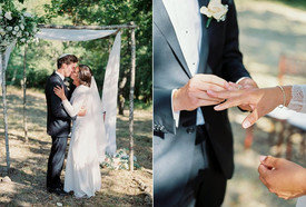Bespoke wedding dress made with silk and French lace, including matching veil. Handmade by Lilli Turner Couture  Wedding photography by Amanda Drost Photography