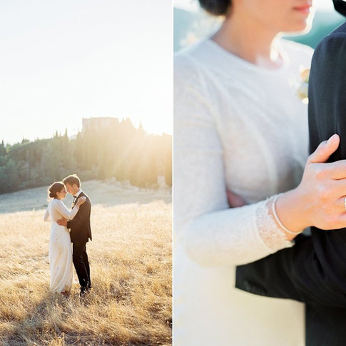 Bruidsjurk van Frans kant en zijde, incl. bijpassende sluier. Handgemaakt door Lilli Turner Couture  Trouwfotografie van Amanda Drost Photography