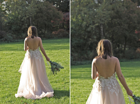 Bespoke wedding dress with a bare back and illusion neckline. Made from soft tulle and cotton jersey with hand-placed couture-lace leaves and Swarovski pearls. By Lilli Turner Couture