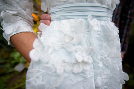Vintage-inspired wedding dress. 50s silhouette, lace with 3D flowers and a mint green underlayer. Bespoke and one of a kind, by Lilli Turner Couture  Wedding photography by Mirjam van Klaarbergen Photography