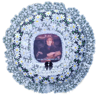 Log Lady Round Daisy Pillow - SOLD -