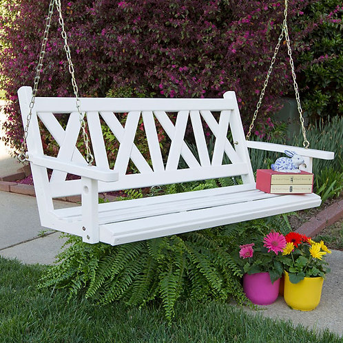 Porchgate Amish Made Haven 5ft. White Porch Swing
