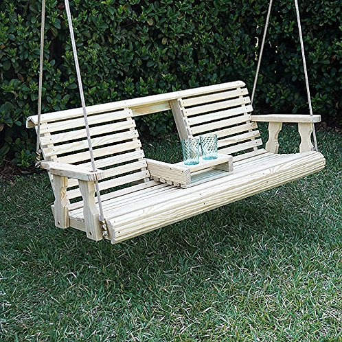 Porchgate Amish Heavy Duty 700 Lb Rollback Console Treated Porch Swing With Hang