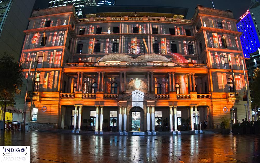 Vivid Sydney Customs House Reflected
