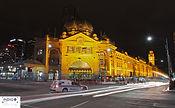 Car Trails Flinder Street Station Melbourne