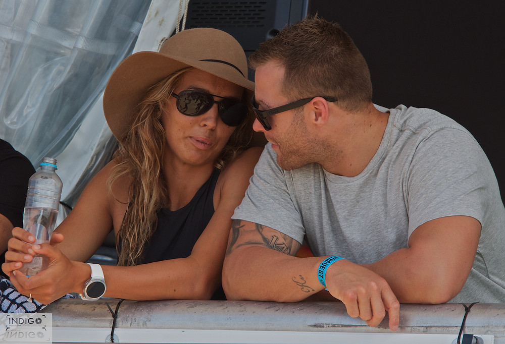 Sally Fitzgibbons and Trent Merrin before Sally's Round two Heat
