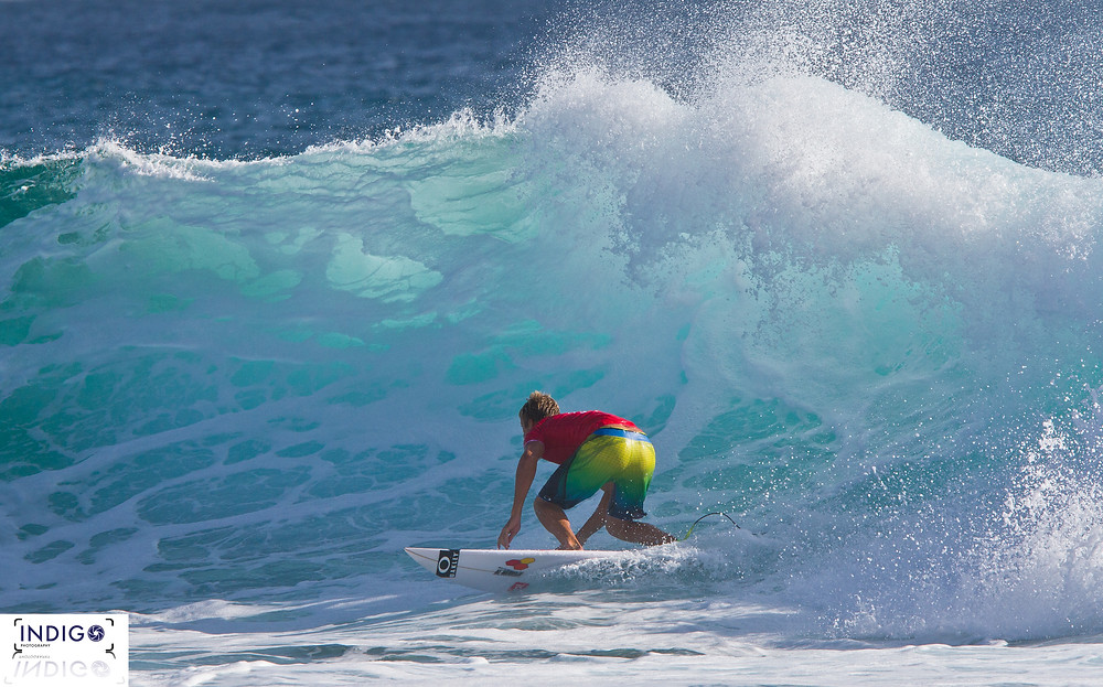Sebastien Zeitz going through a bottom turn in a great finish in the Quiksilver Pro