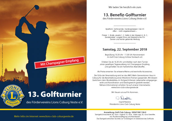 13. Benefiz-Golfturnier des Fördervereins Lions Coburg Veste e.V.